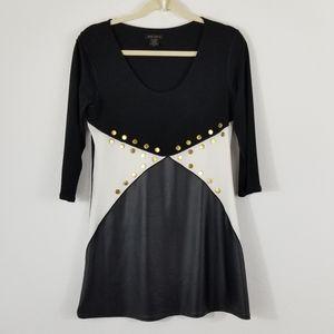 EVA VARRO BLACK AND WHITE GEOMETRIC MINI DRESS